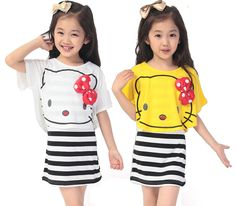 Find More Dresses Information about NEW Arrival 2015 summer  fashion girls' cotton Bat  hello kitty shirt+casual striped dress set 2 pics children girls Clothing,High Quality clothing adhesive,China clothing set Suppliers, Cheap clothing toddler from Wenzhou garment trading company on Aliexpress.com