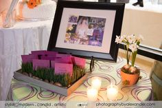 Sample place card display.  Cards courtesy of @Allison Barnhill!