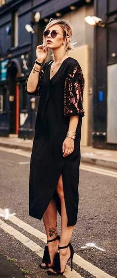 summer outfits Black Shawl Dress// Celestial Jewelry Co