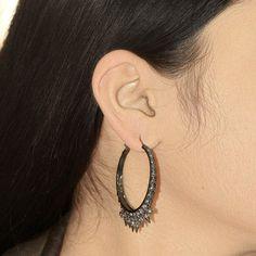 Sterling Silver Hoop Earrings Studded Diamond 14k Gold CHRISTMAS GIFT Jewelry PB #Handmade