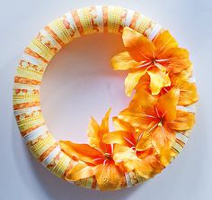 """14"""" Orange Fabric Lily Wreath. $60.00, via Etsy. (Designed and made by original pinner)"""