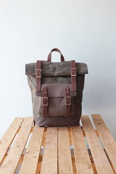 Waxed Canvas Backpack Rolltop with brown leather details, Waxed Canvas Rucksack Roll top, olive