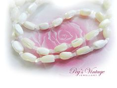 Vintage Long White Mother of Pearl//Hand by PegsVintageJewellery