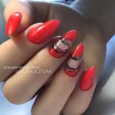 Nail design here! ♥ Photos ♥ Video ♥ Manicure lessons rnrnSource by Red Nail Art, Red Acrylic Nails, Acrylic Nail Designs, Red Nails, Hair And Nails, Nail Art Designs, Nails Only, Nail Blog, Elegant Nails