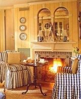 The wood fireplace mantel surrounds featured here range from refreshingly rustic designs to cozy and comfy country casual compositions especially designed to make you feel at ease! Stone Fireplace Designs, Fireplace Mantel Surrounds, Stone Mantel, Wood Fireplace Mantel, Cottage Fireplace, Cabin Design, Cottage Design, Rustic Design, Cottage Decorating