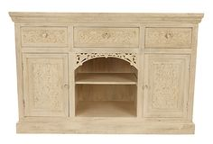 One Kings Lane - Provençal Living - Whitewash Carved Sideboard