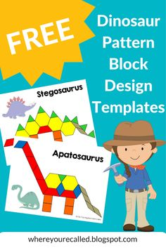 FREE Dinosaur Pattern Block Templates; Letter D Activities PATTERN BLOCKS pages printed out slightly too small for actual pattern blocks --- won't be able to use these with my preschoolers