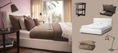 Valkoisella nahalla verhoiltu FOLLDAL-sänky, mustanruskea VEJMON-apupöytä ja ruskea KARIT-päiväpeitto
