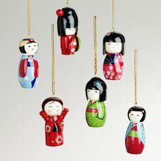 Wood Kokeshi Doll Ornaments, Set of 6 | World Market