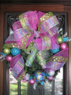 Pink Blue and Lime Green Christmas Wreath Ornaments