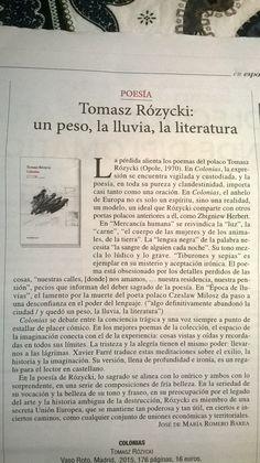 #recomiendo #poemario #Colonias #TomaszRóżycki  @Vaso_Roto  #RomeroBarea @MondeDiploEs @805ojinaga @timeforexpresso https://romerobarea.wordpress.com/2015/11/05/tomasz-rozycki-un-peso-la-lluvia-la-literatura/ …