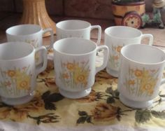 Set Of 6 Cottage Pedestal Coffee Cups Yellow Daffodils