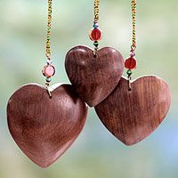 Wood ornaments, 'Hearts of Happiness'