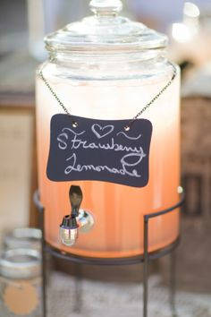 chalk board on a chain+ drink dispenser= old fashioned fountain drinks!