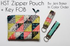 Fat Quarter Gang - HST Zipper Pouch & Key Fob by In Color Order - Art Gallery Fabrics - The Creative Blog