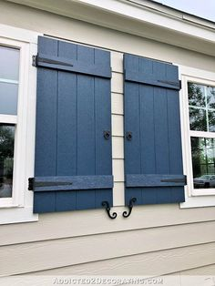 More concerning the image below Home Exterior Remodel Metal Shutters, Window Shutters Exterior, Outdoor Shutters, Wood Shutters, White Shutters, Cottage Shutters, House Shutters, Cottage Exterior, Shutter Colors