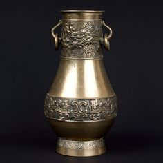 Korea 20. Jh - A Korean Baluster Shaped Brass Dragon Vase - Vaso Coreana Coréen