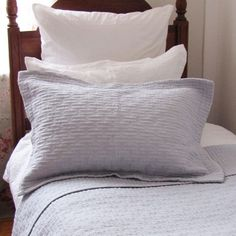 Pure bliss with this white cotton embroidered quilt. This quilt is the perfect compliment to most of our grey duvet sets. Comes with matching pillow shams in Std size 45 x Composition: Cotton Percale Pillow Shams, Bed Pillows, Pillow Cases, Grey Duvet Set, Duvet Sets, Embroidered Quilts, Bedroom Bed, Cotton Quilts, Luxurious Bedrooms