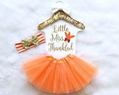 Thanksgiving Baby Outfit Set. ♥ ♥ ♥ ♥ ♥ ♥ WELCOME TO MOLLIE AND LOLA ♥ ♥ ♥ ♥ ♥ ♥  ♥ What Is Included ♥ This set includes (if selected from drop-down menu): 1 sequin bow headband 1 baby snap bottom bodysuit with design 1 baby tulle tutu  ♥ Headband Info ♥ - Headband is recommended for babies and children age 0 months up however since every childs head size varies greatly due to different growth spurts please let us know if you would like the measurements of a particular headband. - Bow measure...