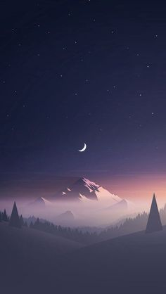 Stars And Moon Winter Mountain Landscape iPhone Wallpapers