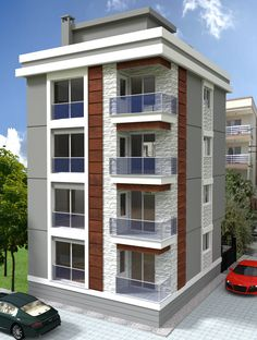 realistic modeling visualization animation and rendering 3 Storey House Design, Two Story House Design, Duplex House Design, House Front Design, Small House Design, Residential Building Design, Home Building Design, High Building, Building Facade