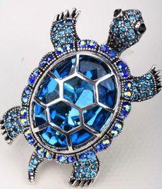 Adorable Faux Blue Topaz Rhinestone Silvertone Baby Turtle Stretch Ring | eBay