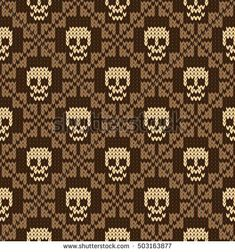 Seamless pattern with skull and ethnic mexican elements. Day of the dead, a traditional holiday in Mexico. For postcard or celebration design. Traditional Latin American patterns and ornaments Knitting Basics, Knitting Charts, Knitting Stitches, Knitting Projects, Free Knitting, Crochet Skull Patterns, Fair Isle Knitting Patterns, Cross Stitch Patterns, Cross Stitch Skull