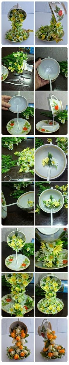 How to connect two things at a distance - DIY Topiary Flower Flying Cup Decorations.Best Homemade Valentines Gifts for Her To Express Your Love Decor Crafts, Diy Home Decor, Diy And Crafts, Book Crafts, Room Decor, Diy Flowers, Paper Flowers, Teacup Flowers, Faux Flowers