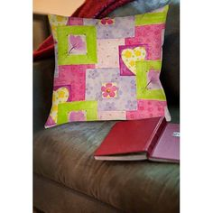 Thumbprintz Hearts and Flowers Indoor Pillow, Multicolor