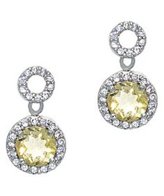 Glitzy Rocks Sterling Silver Citrine and CZ Circle Dangle Earrings. Possible earrings to match the necklace for the girls.