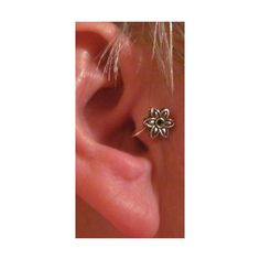 SILVER PLATED EAR CUFF- EARRING TRAGUS EAR CUFF- NO PIERCING FLOWER # 3-3 found on Polyvore