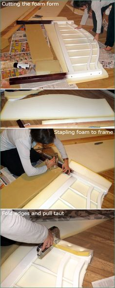Redo an old headboard into an upholstered one! @Amber Stokes you could get a super cheap headboard to do this!