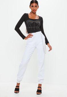 d4f3bdfecdef8 Missguided - Black Contrast Stitch Embroidered Square Neck Bodysuit
