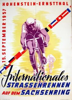 International Track Cycling Competition, 1957 - original vintage poster by Petersen listed