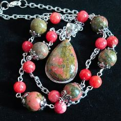 "Green & Coral Pink Unakite Gorgeous mottled green/pink bezel set pendant. On 24"" chain with unakite & agates. Silver tone. NWOT, gift boxed. Jewelry Necklaces"