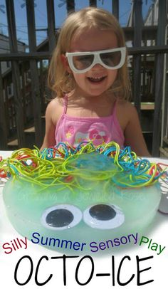Silly Summer Fun with OCTO-ICE- This activity is loaded with sensory exploration and non stop giggles! (A FUN and creative way to stay cool while playing in the sun! )