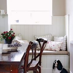 good idea for window in dining room - for storage and back drop to island facing living room?