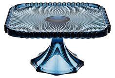 Belmont Square Cake Plate, Blue on OneKingsLane.com