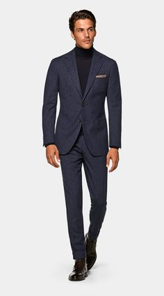 Sport Casual, Men Casual, Navy Pinstripe Suit, Suit Supply, Slim Fit Jackets, Business Casual Men, Navy Stripes, Mens Suits, Casual Looks