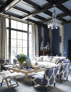 Blue and white prints everywhere. Walls, window treatments, upholstery, accessories, even the ceiling!
