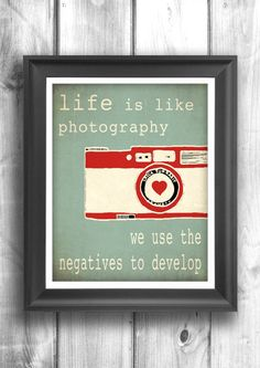 Typographic poster, Quote art, inspirational print, wall decor, digital print, red, teal, camera print - 11x14 - Typography. $20.00, via Etsy.