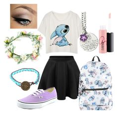 """Stitch"" by josephine-23 ❤ liked on Polyvore featuring Vans, Disney and MAC Cosmetics"