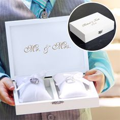 WeddingDepot.com ~ Ring Bearer Keepsake Box ~ For the bride looking to combine personalized style and contemporary charm to her big day, our Ring Bearer Pillow Boxes make ideal ceremony alternatives.