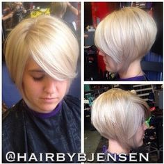 Such an adorable pixie - bob style ! Hairstyles like this make me miss being a blonde..