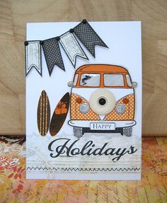 Van card Vw Camper, Volkswagen Bus, Kids Cards, Men's Cards, Tattered Lace Cards, Die Cut Cards, Love Bugs, Caravans, Masculine Cards