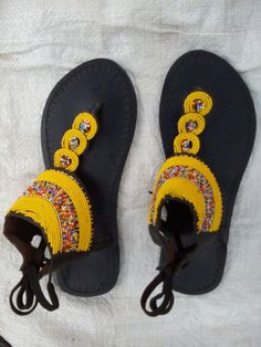 Handmade Leather And Bead Sandals by Delviinternational on Etsy