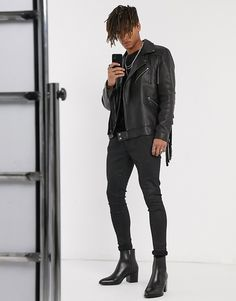 Browse online for the newest ASOS DESIGN heeled chelsea boots with pointed toe in black leather with black sole styles. Shop easier with ASOS' multiple payments and return options (Ts&Cs apply). Cuban Heel Boots, Chelsea Boots Outfit, Stylish Mens Outfits, Asos, Black Leather, Leather Jacket, My Style, Heels, Clothes
