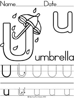 Words that start with the letter u things kid related pinterest letter u umbrella alphabet theme lesson plan printable activities and worksheets for preschool and kindergarten ibookread