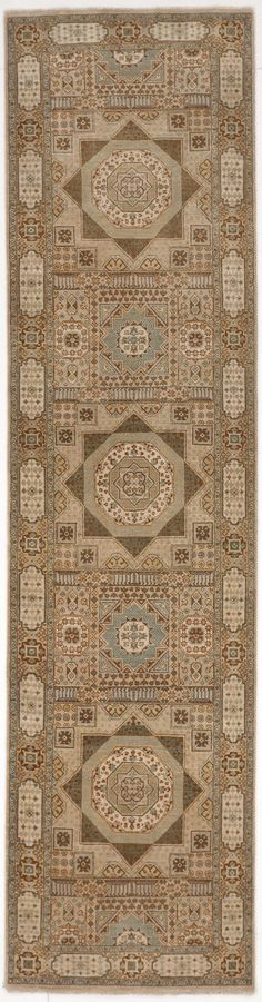 Make a statement with this triple geometric medallion runner. Origin: India Material: Wool Construction: Hand knotted Age: New Hallway Rug, Weaving Techniques, Rugs Online, Rug Runner, Needlepoint, Primitive, Knots, Handmade Items, Wool