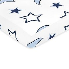 Complete the look of your Sweet Jojo Designs Starry Night nursery with this stars and moon print cotton crib sheet. Sheet complements the other pieces in the collection and fits all standard crib and toddler mattresses.